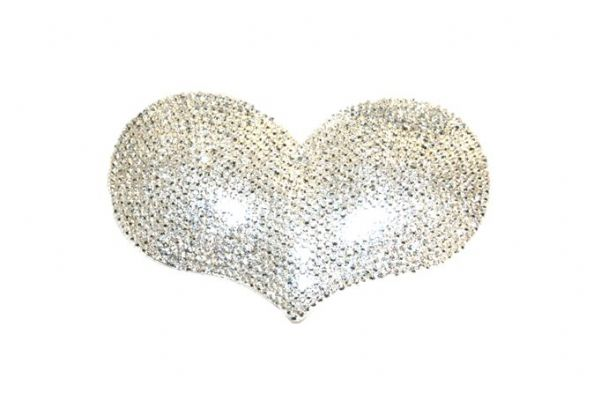 1piece x 85mm*55mm*5mm  Acrylic bling heart flat back silver colour -- heart drop shape -- 5000023